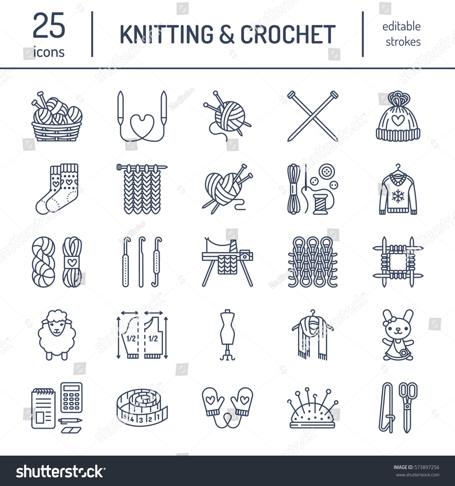 Knitting Crochet Hand Made Line Icons Vector de stock573897256 ...