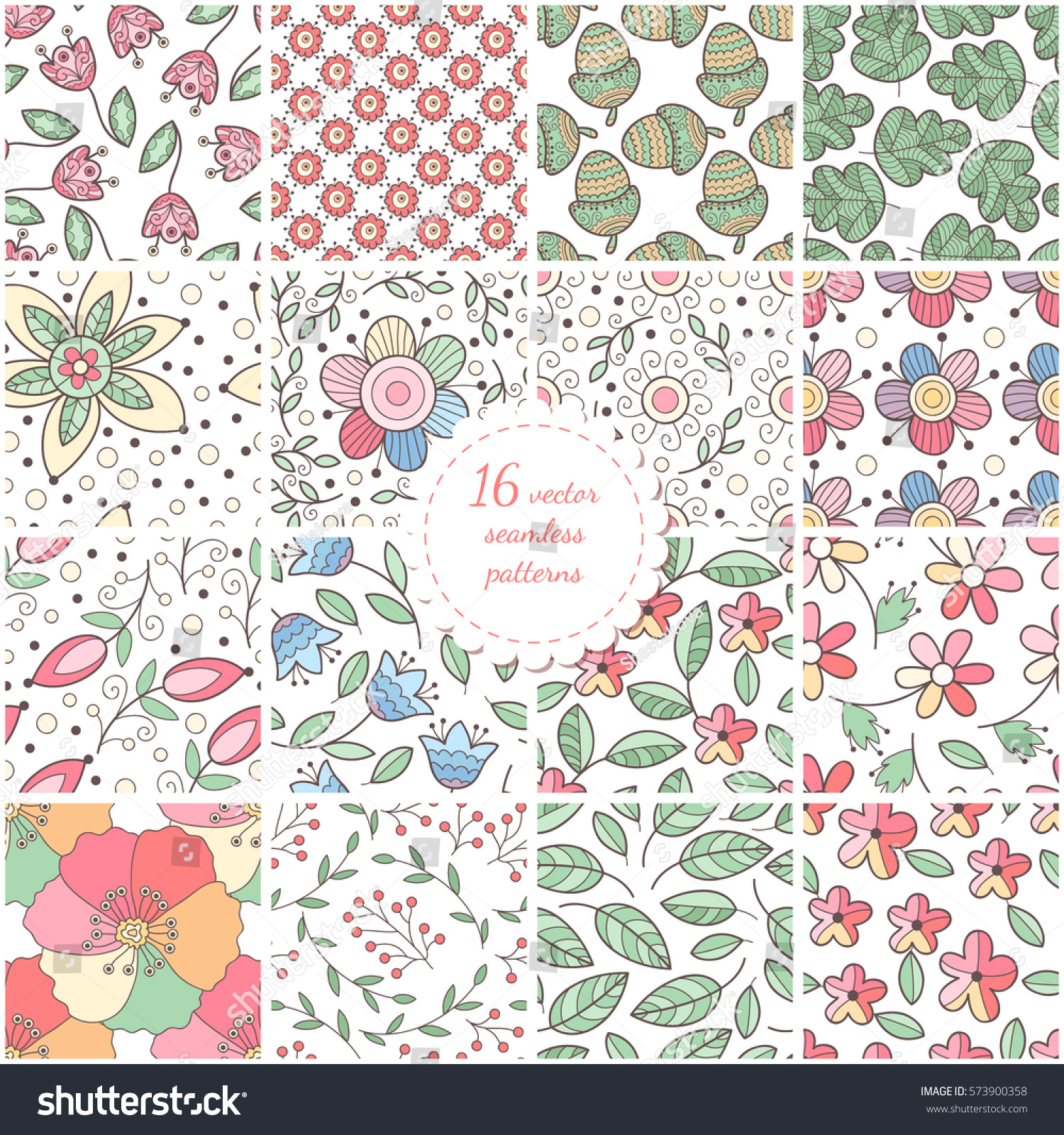 Set Of Seamless Hand Drawn Flower And Leaves Patterns Scrapbook
