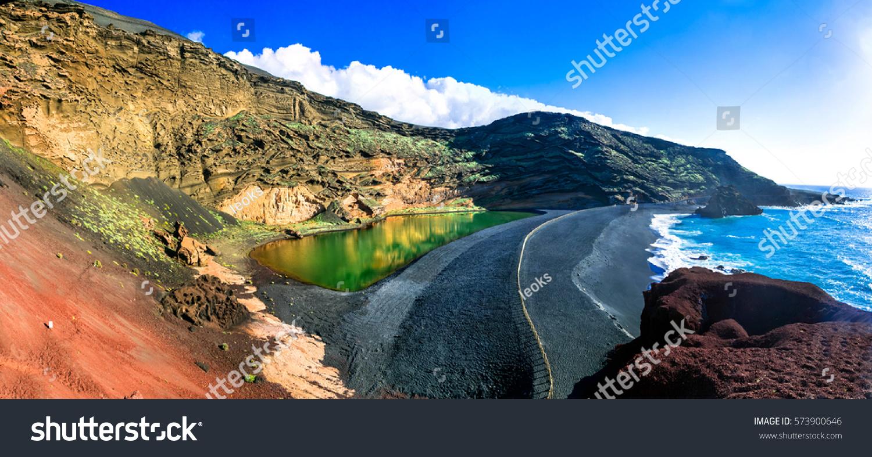 El Golfo with unique Lago Verde and black sands beach. Lanzarote, Canary islands #573900646