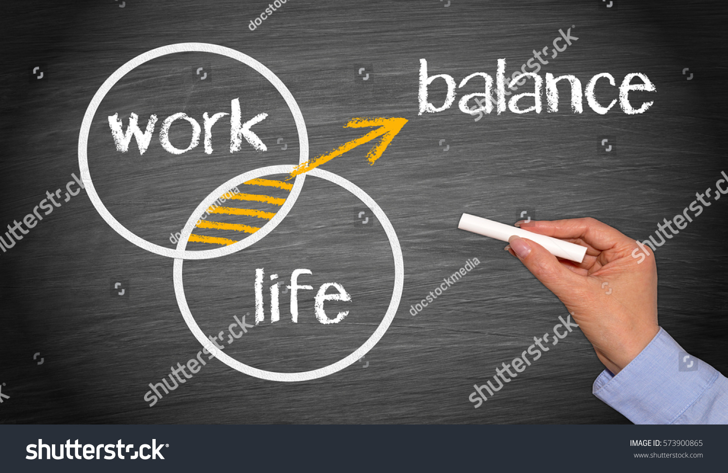 Work Life Balance - Business work-life concept chalkboard with female hand and text #573900865
