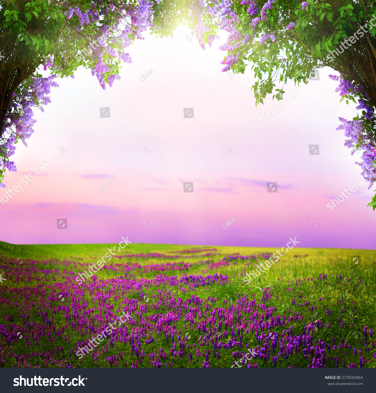 fantasy background magic forest beautiful spring landscape lilac