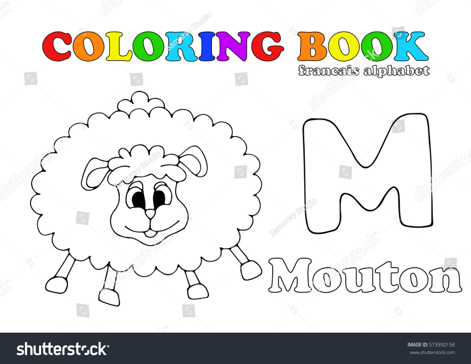 Coloring Book Page Cartoon Illustration Funny Stock Vector (Royalty ...