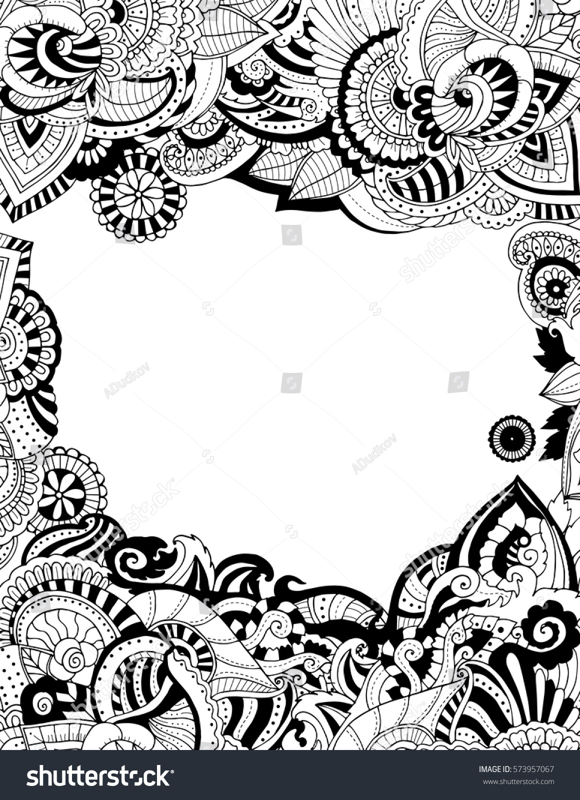 Zentangle Card Template Adult Coloring Pages Stock Vector 573957067 ...
