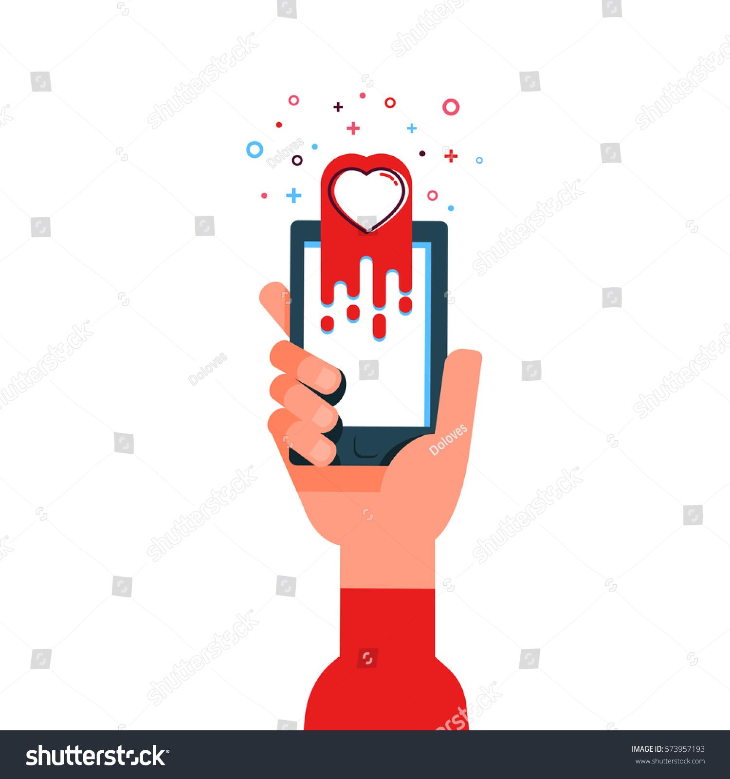 Vector Illustration Hand Send Message Love Stock Vector Royalty