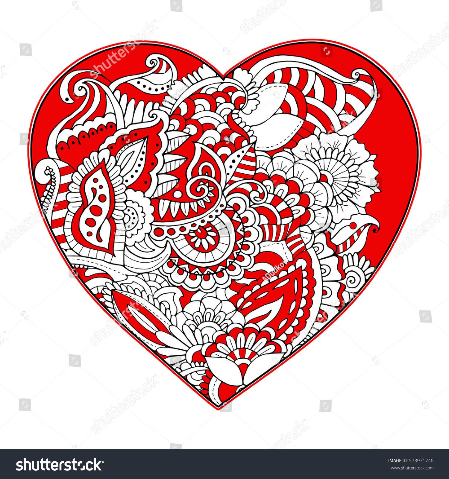 Vector Illustration Floral Tribal Heart Zentangle Stock Vector ...