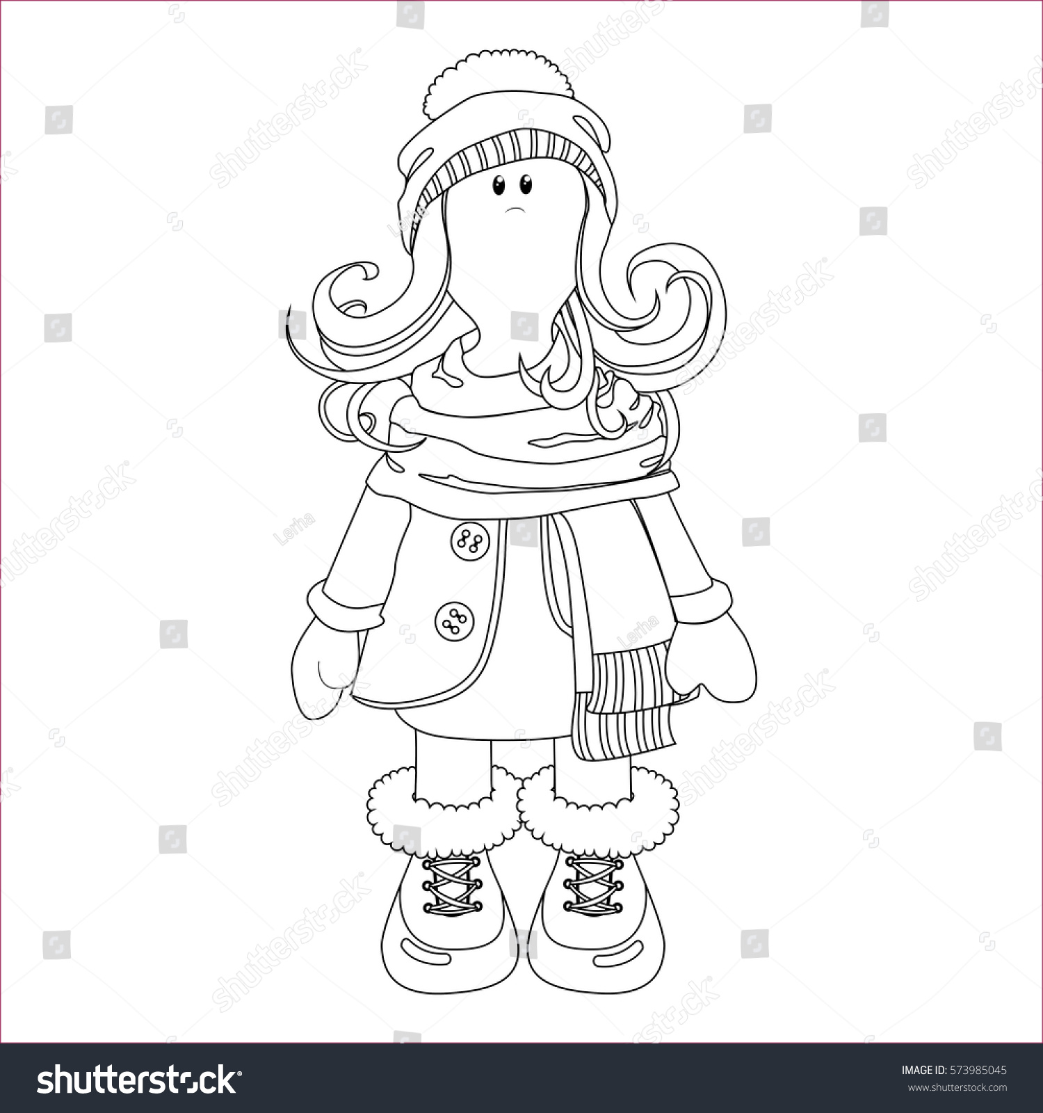 Childrens coloring sheet of a rag doll - Vector Coloring Scandinavian Rag Doll In The Form Of A Girl In Winter Clothes Coat