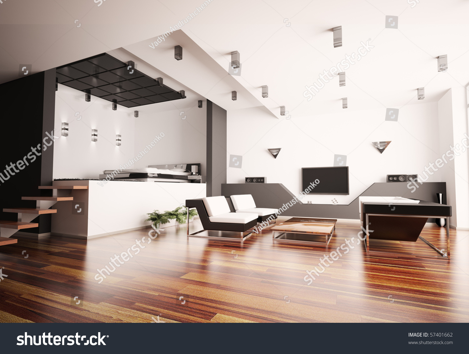 Modern apartment bedrooms - Modern Apartment With Living Room And Bedroom Interior 3d