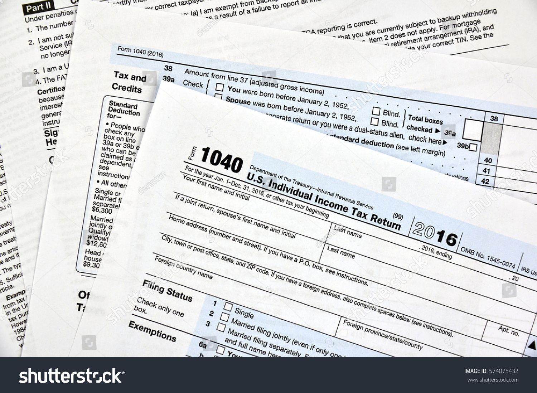 Us Individual Income Tax Return Stock Photo - Us zip code no tax