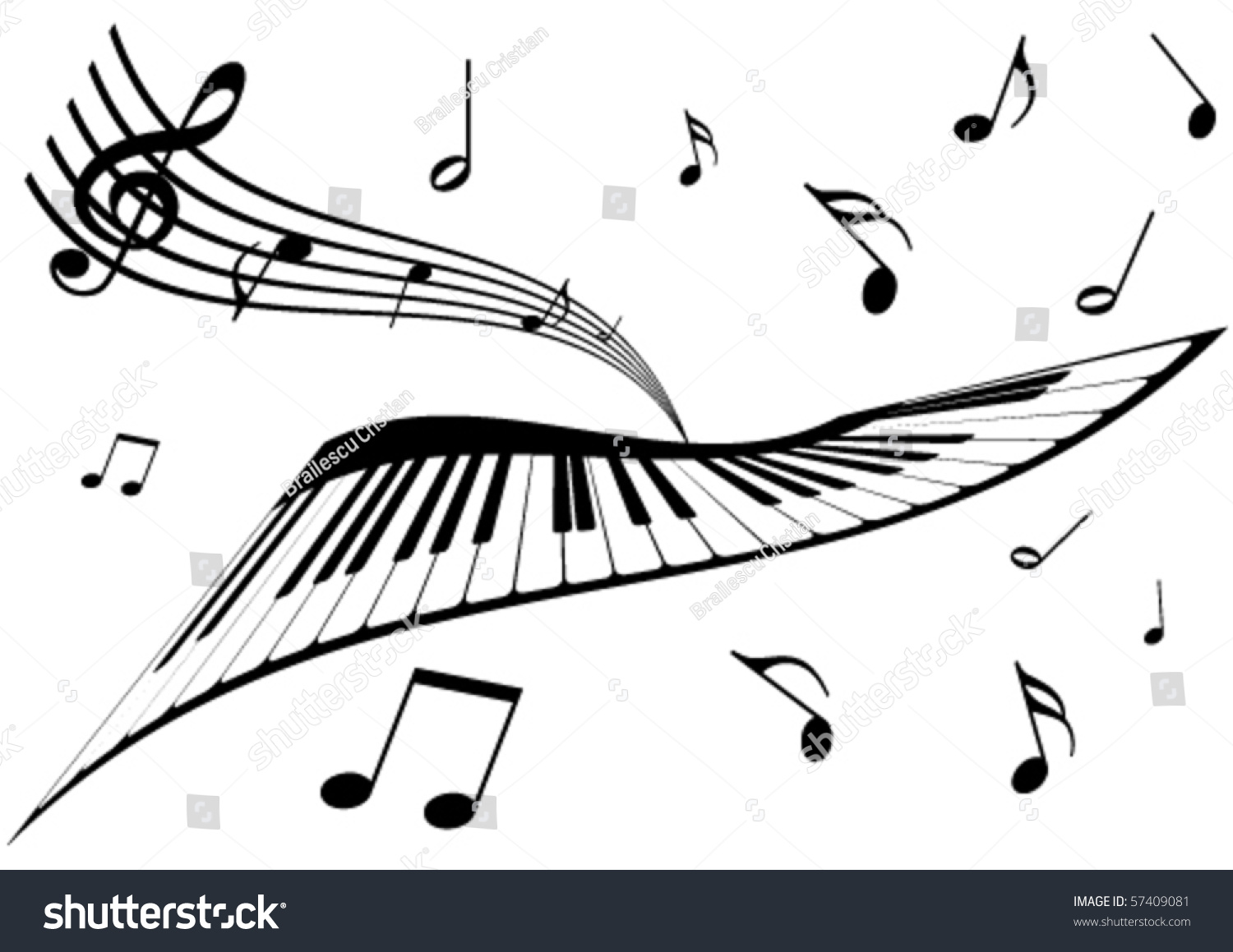 illustration piano stave music notes stock vector 57409081