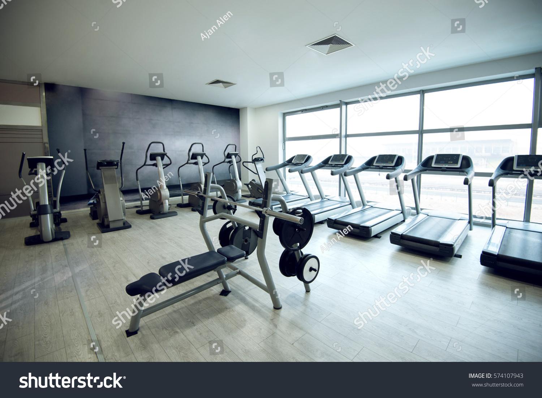 Equipment machines empty modern gym room stock photo