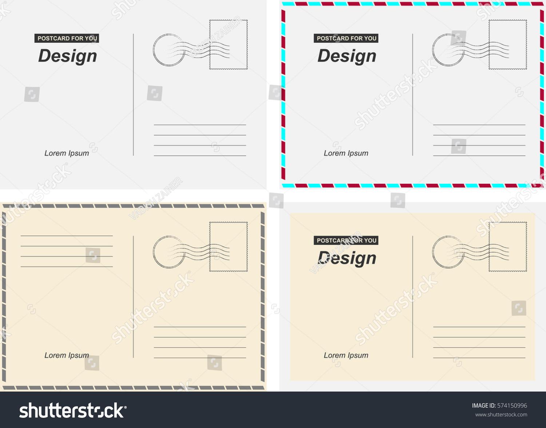 Set Vector Postcards Postal Card Travel Vector de stock (libre de ...
