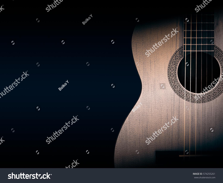 Part Orange Acoustic Guitar On Black Stock Photo Edit Now