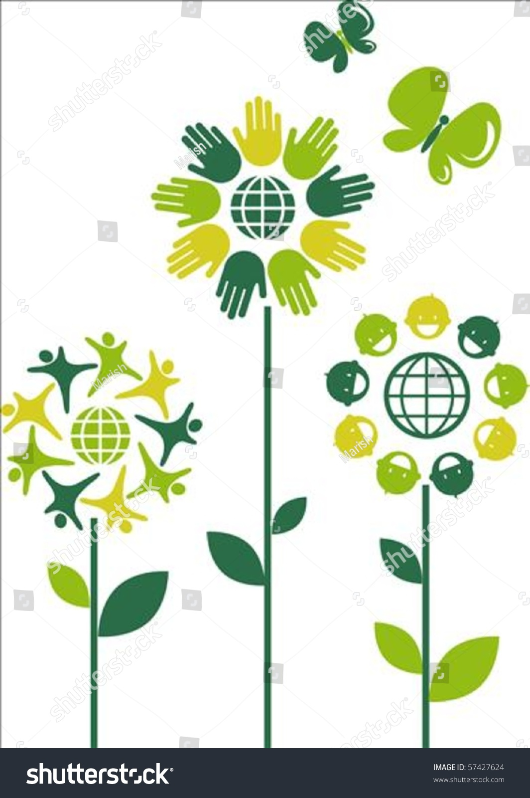 Eco Flower Symbols Human Theme Stock Vector Shutterstock