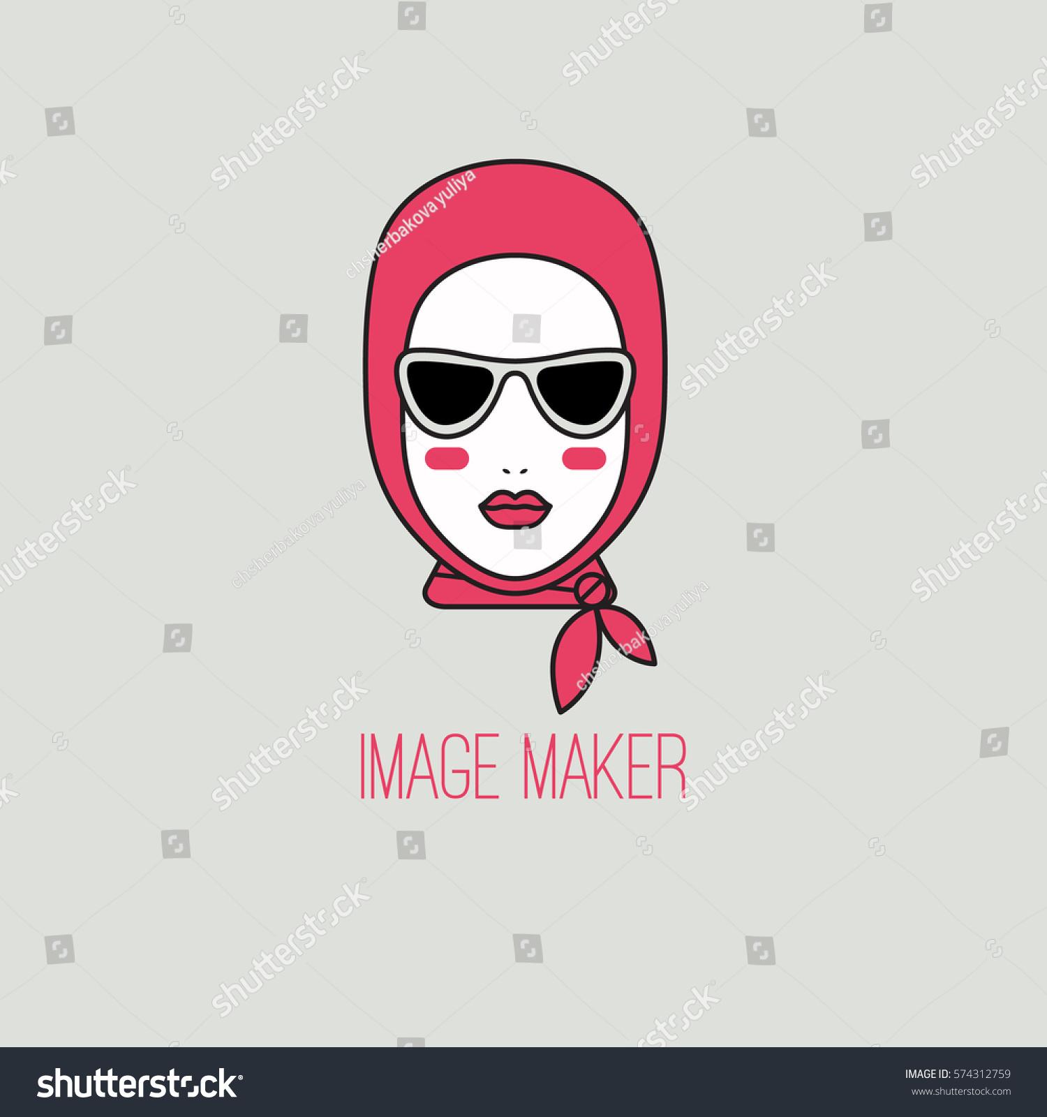 Icon Beauty Beautiful Head Face Woman Stock Illustration 574312759