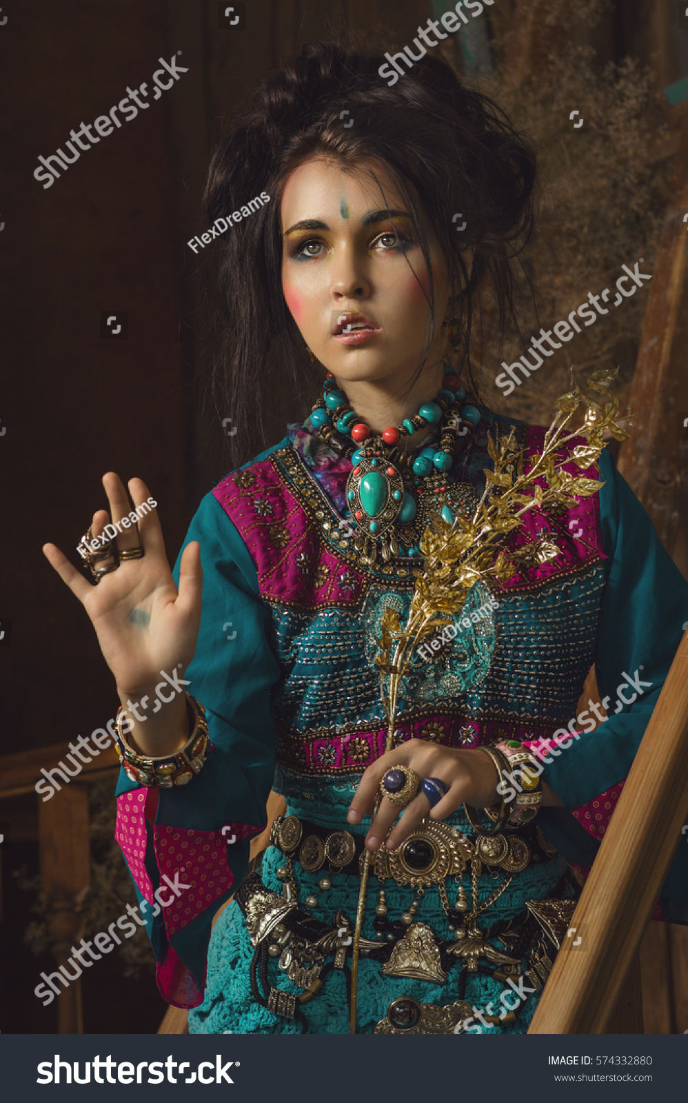 Stylized Vintage Portrait Young Woman Ethno Stock Photo ...