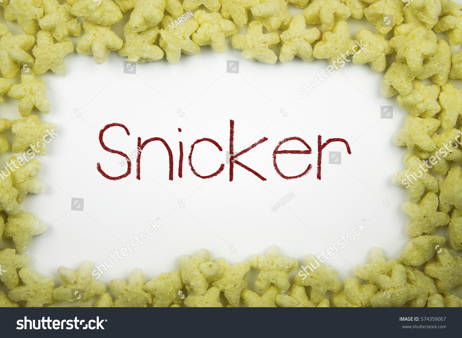 Snicker Concept Write Text Frame Glazed Stock Photo 574359067 ...