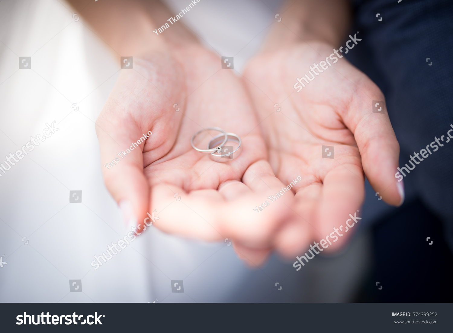 Closeup Silver Wedding Rings Hands Woman Stock Photo (Edit Now ...