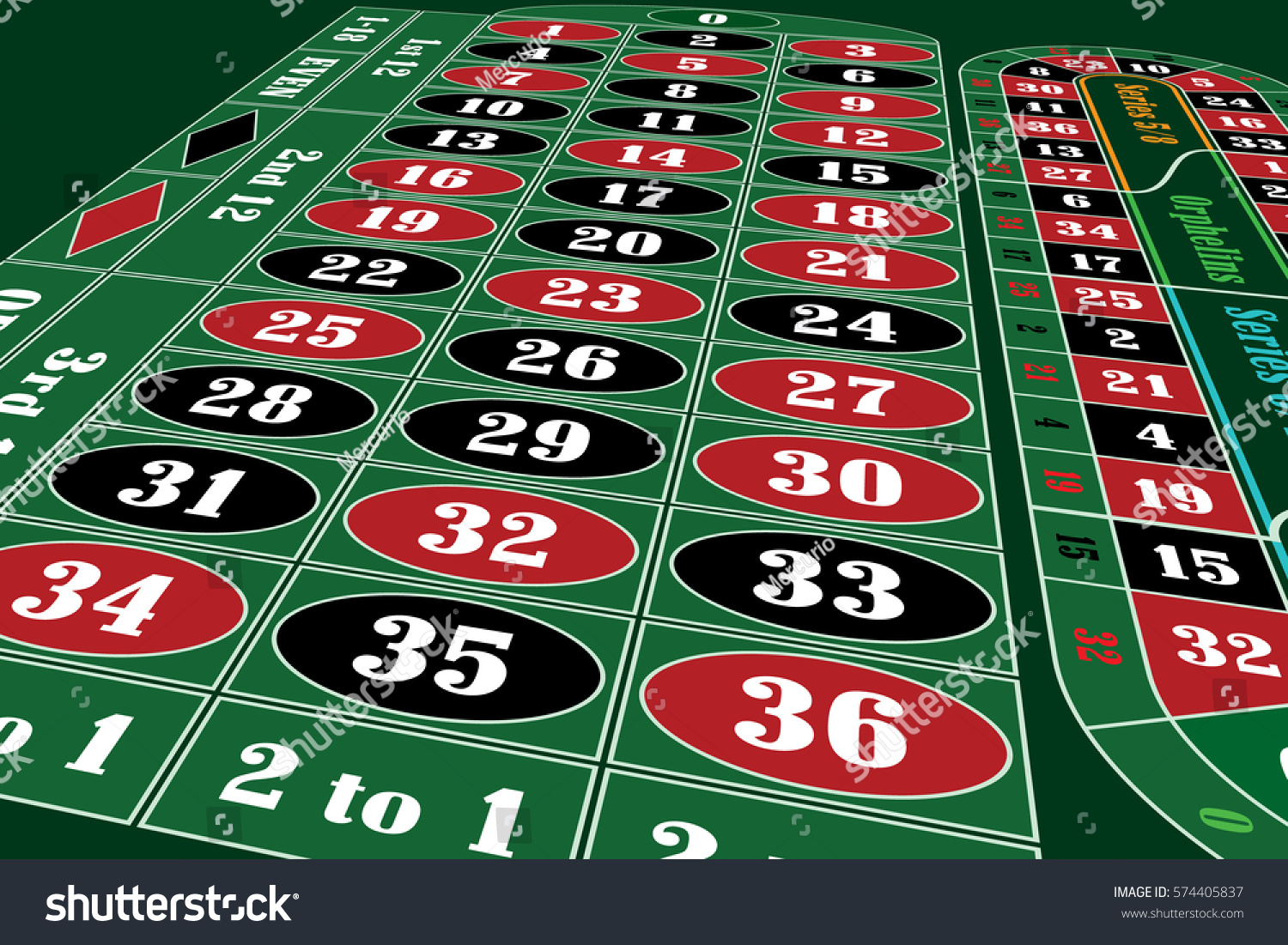 Traditional european roulette table vector illustration stock vector - Traditional European Roulette Table Perspective Vector Illustration