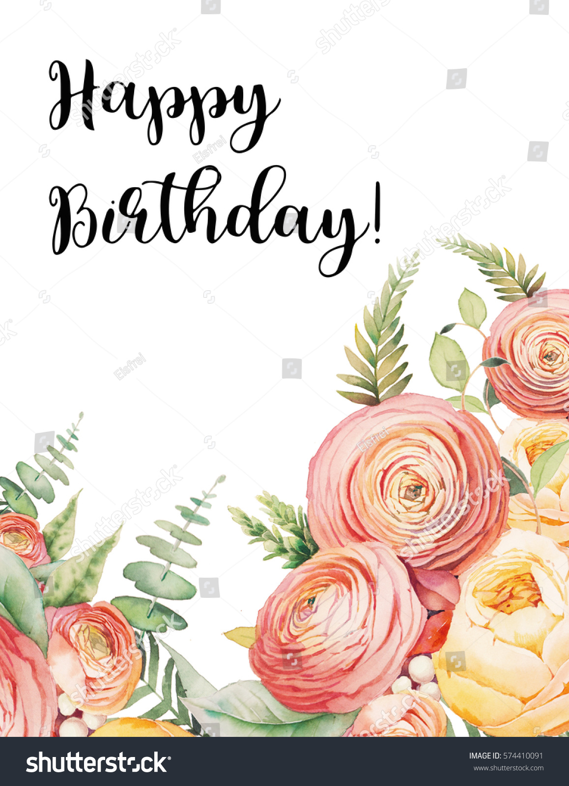 Happy Birthday Card Watercolor Flowers Bouquet Stock Illustration