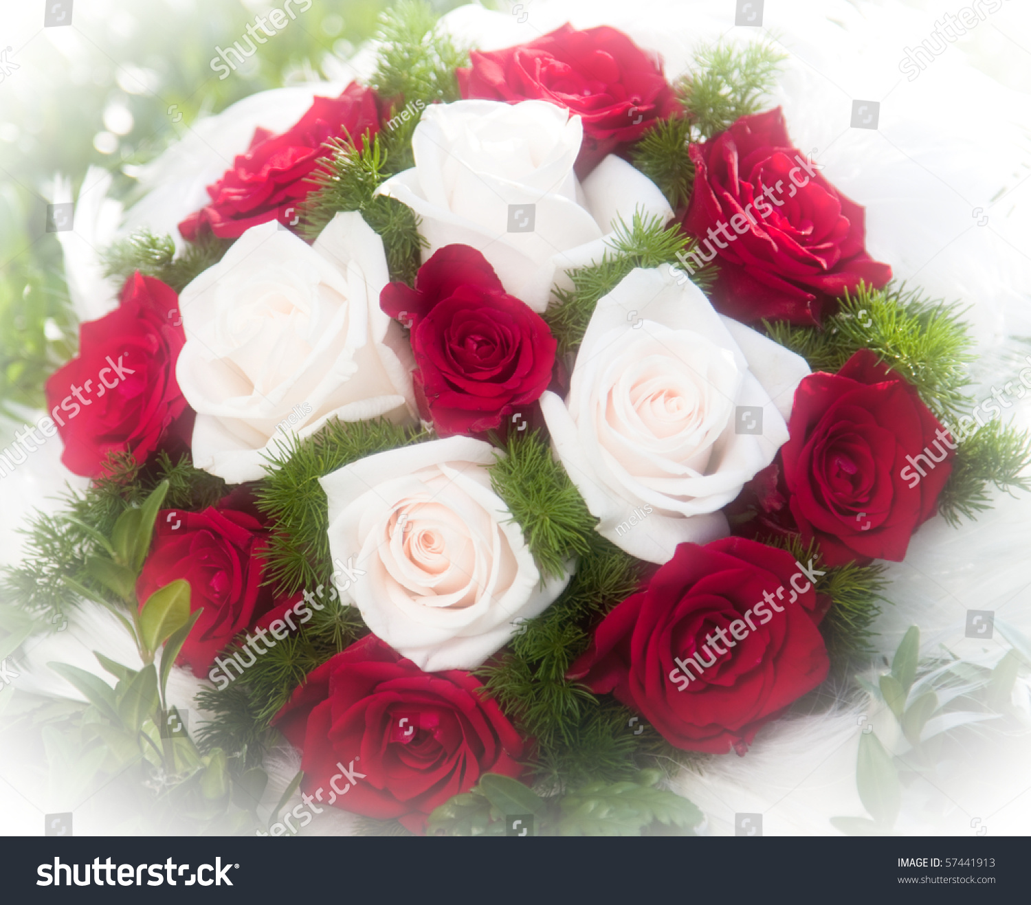 Wedding Bouquet Red White Roses Stock Photo Edit Now 57441913