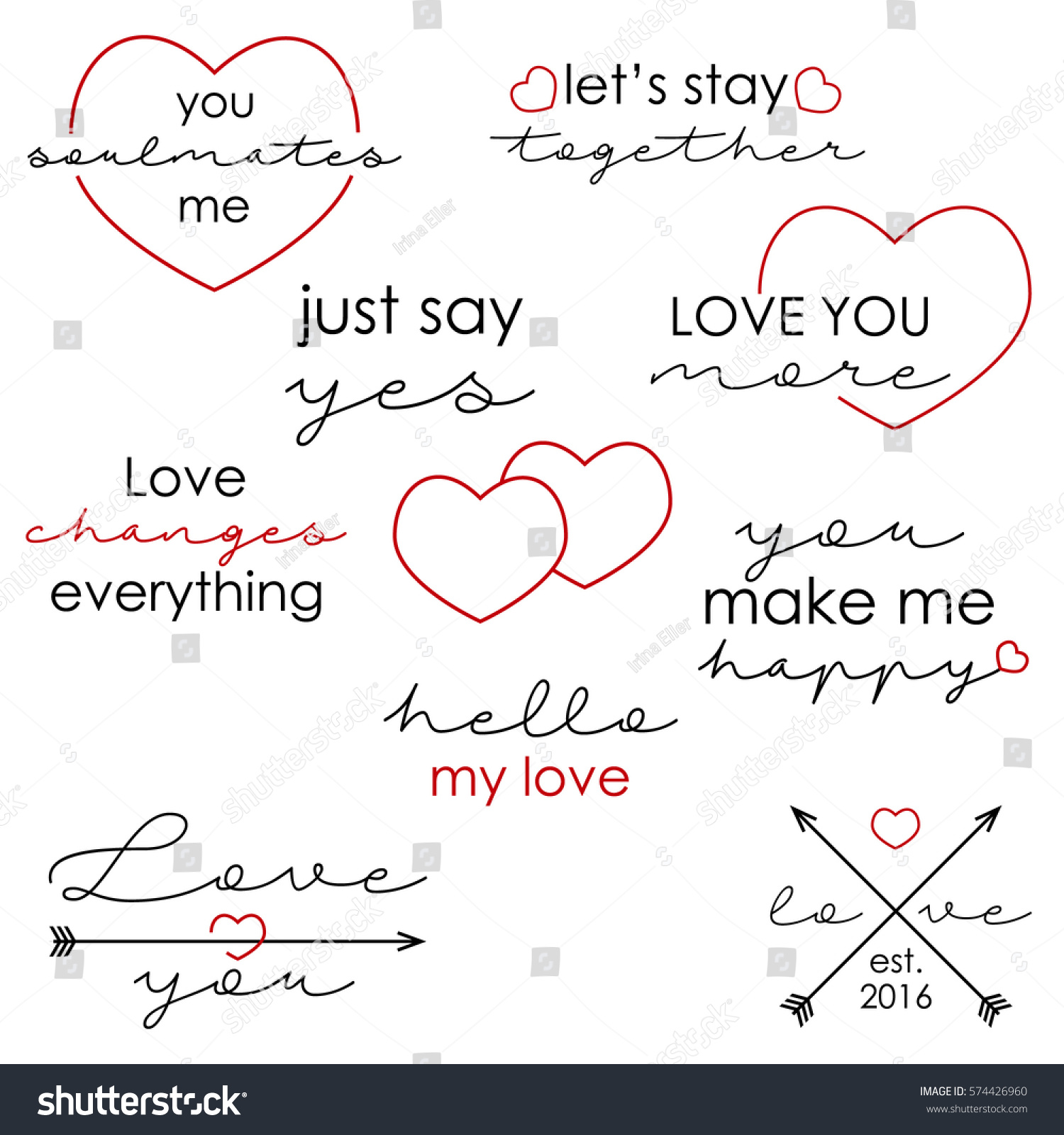 Love Quotes For Valentines Day Set Love Quotes Valentines Day Vector Stock Vector 574426960
