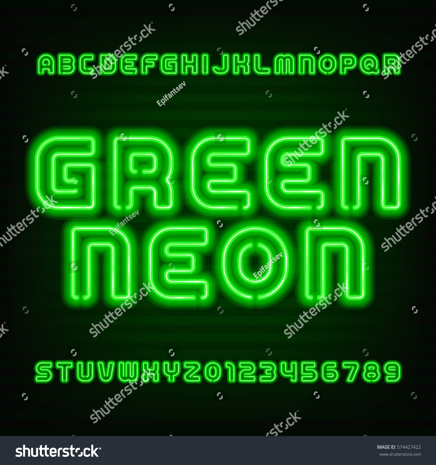 Neon Tube Alphabet Font Type Letters Stock Vector (2018) 574427422 ...