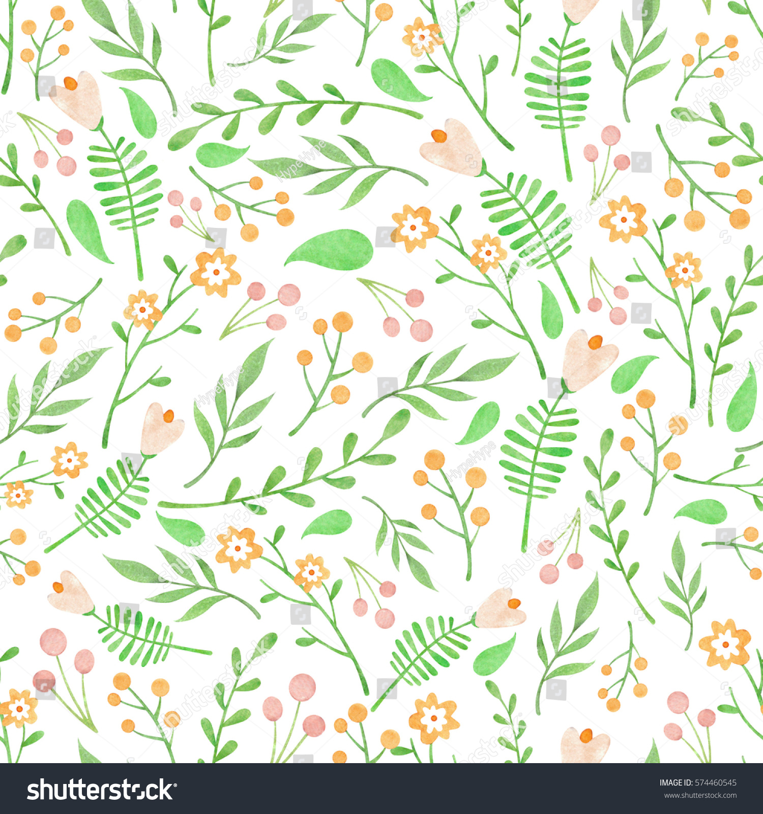 Watercolor Floral Pattern With Orange And Light Pink Flowers Berries