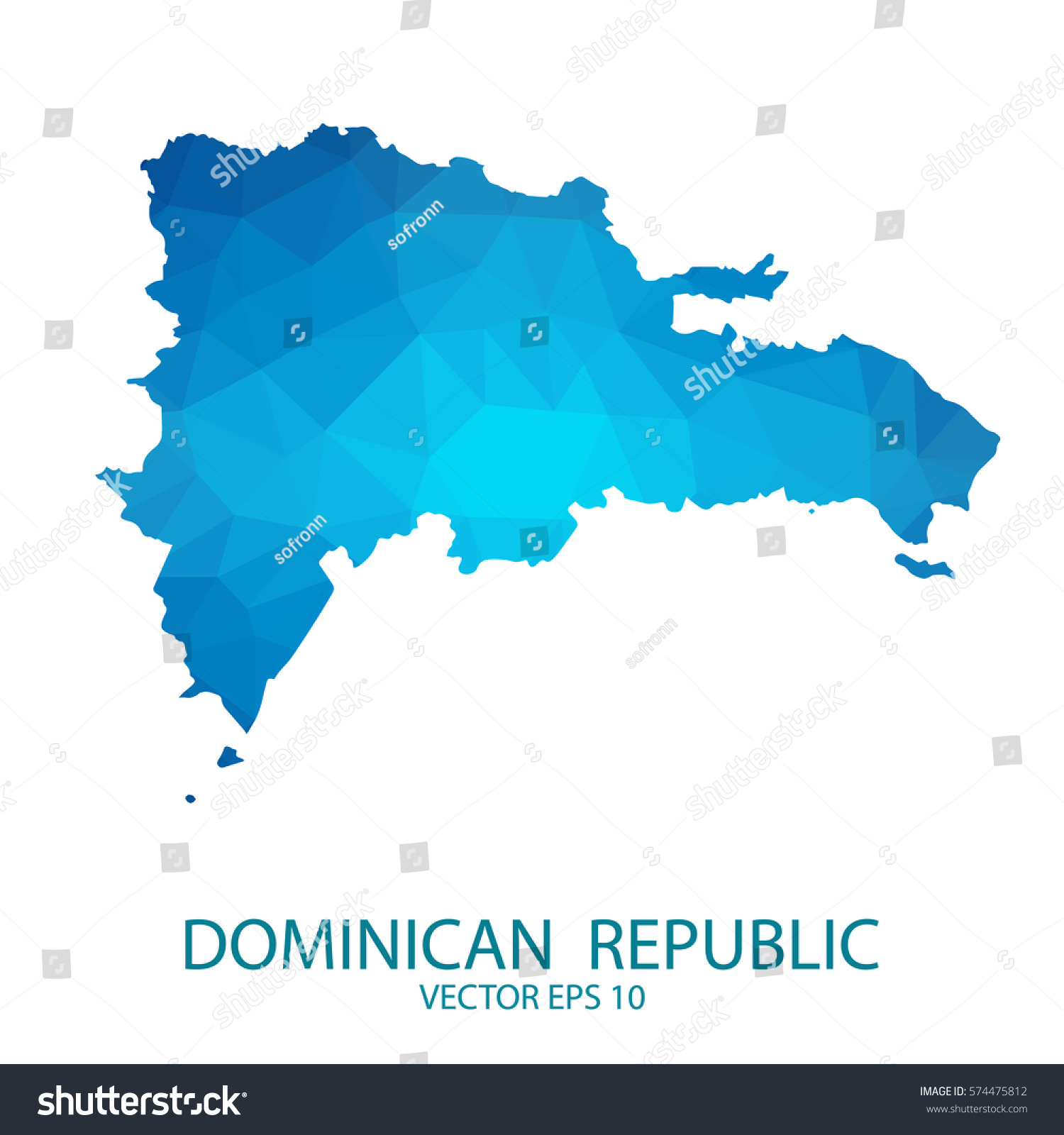 Dominican Republic Map Blue Geometric Rumpled Stock Vector 574475812 ...