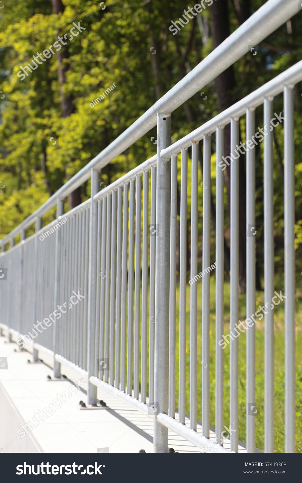 White Steel Fence Railing Outdoor Stock Photo 57449368