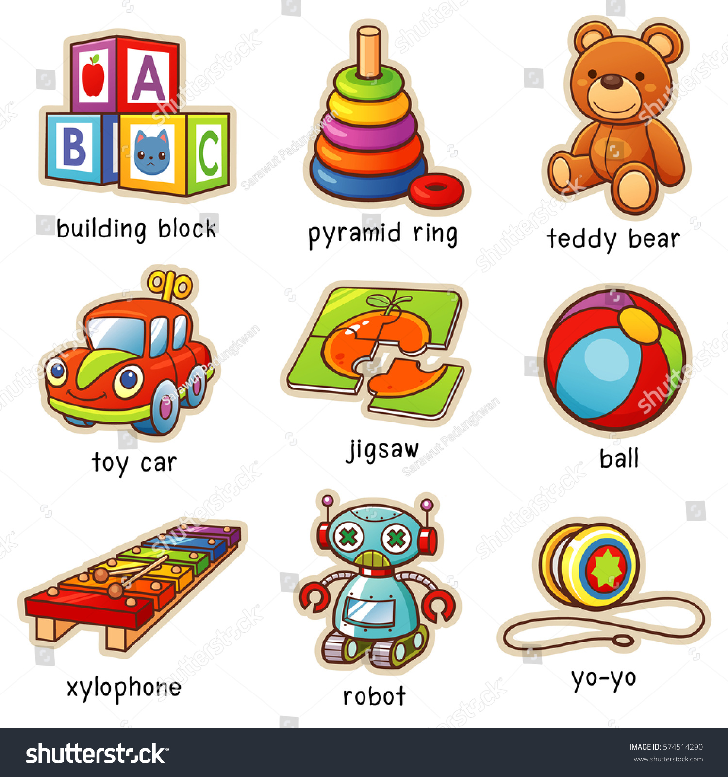 Toy Vocabulary Game : Vector illustration cartoon toys vocabulary stock
