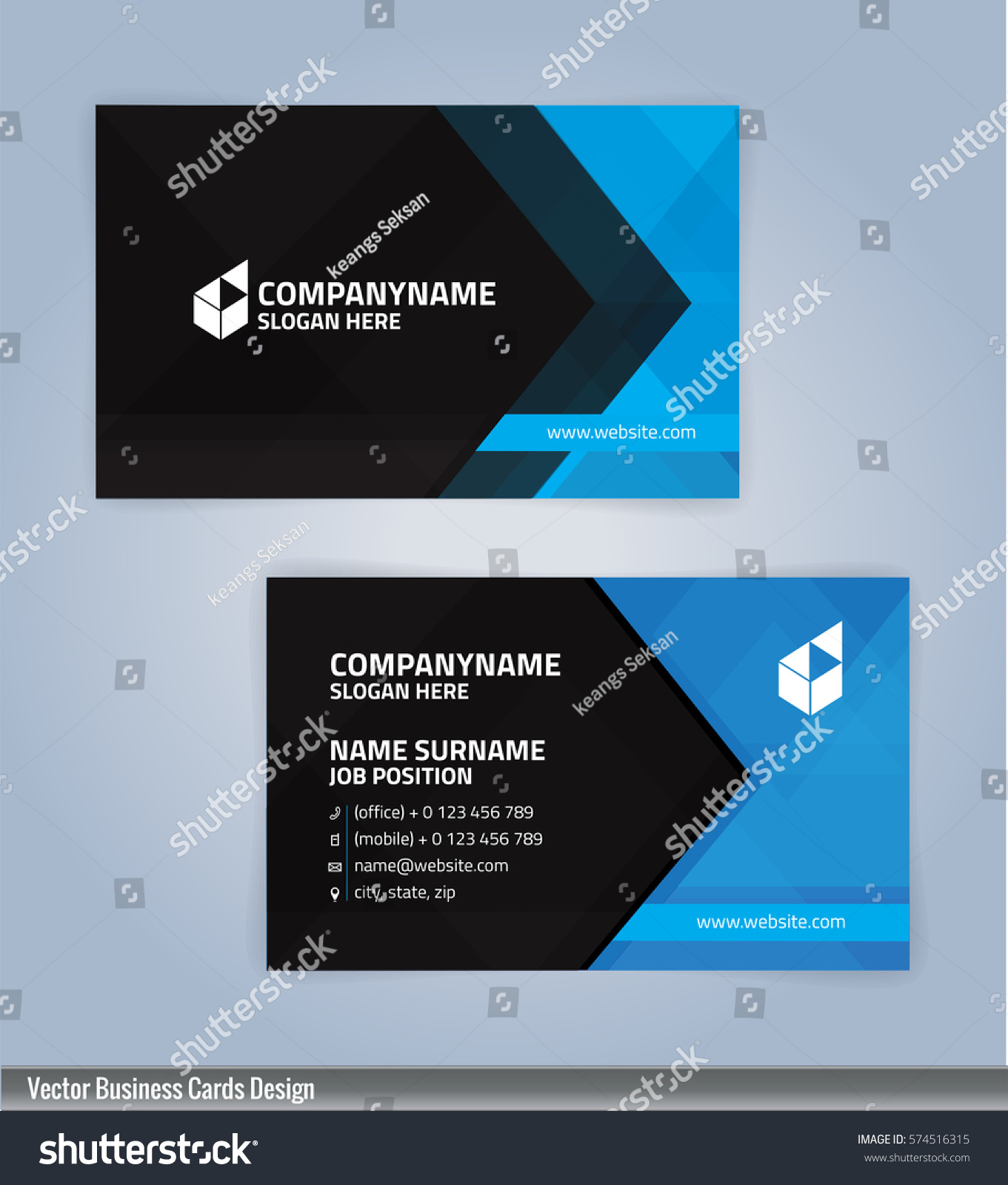 Blue black modern business card template em vetor stock 574516315 blue and black modern business card template illustration vector 10 reheart Image collections