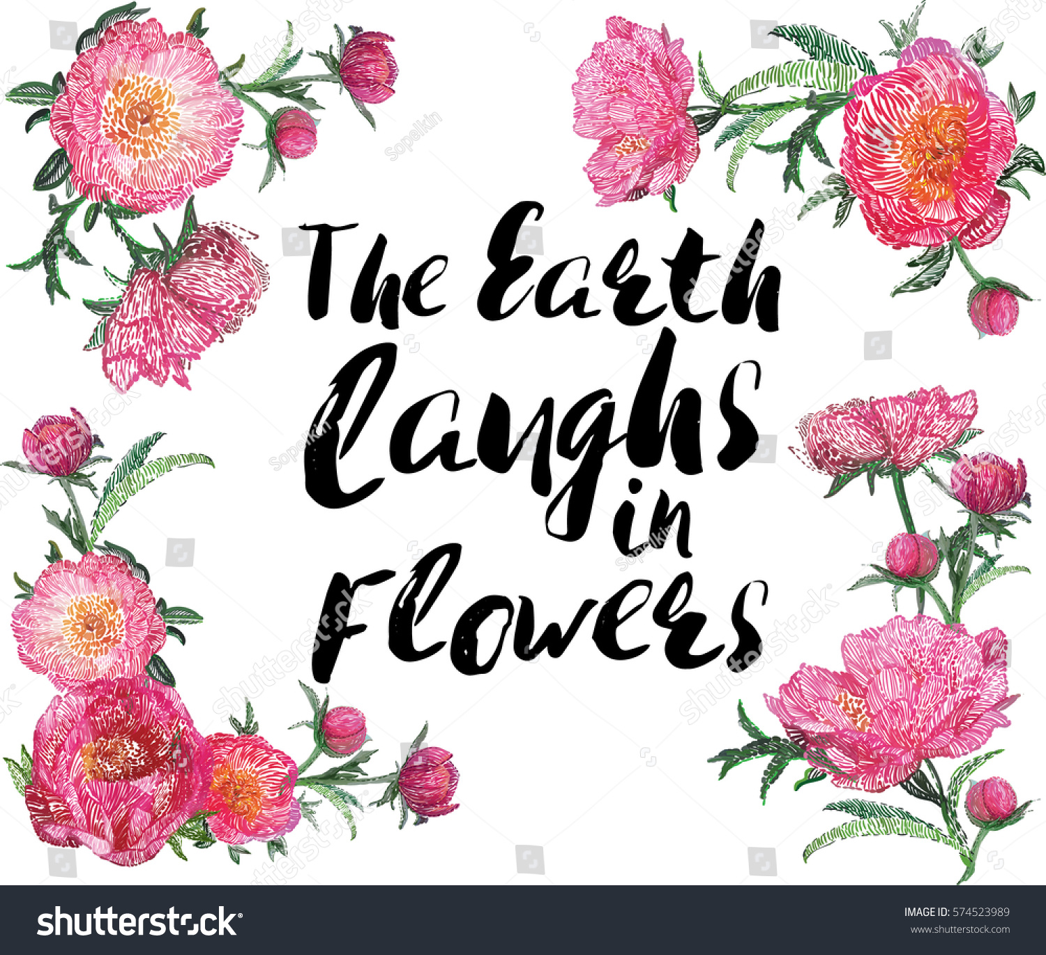 Earth laughs flowers quote blossom stock vector