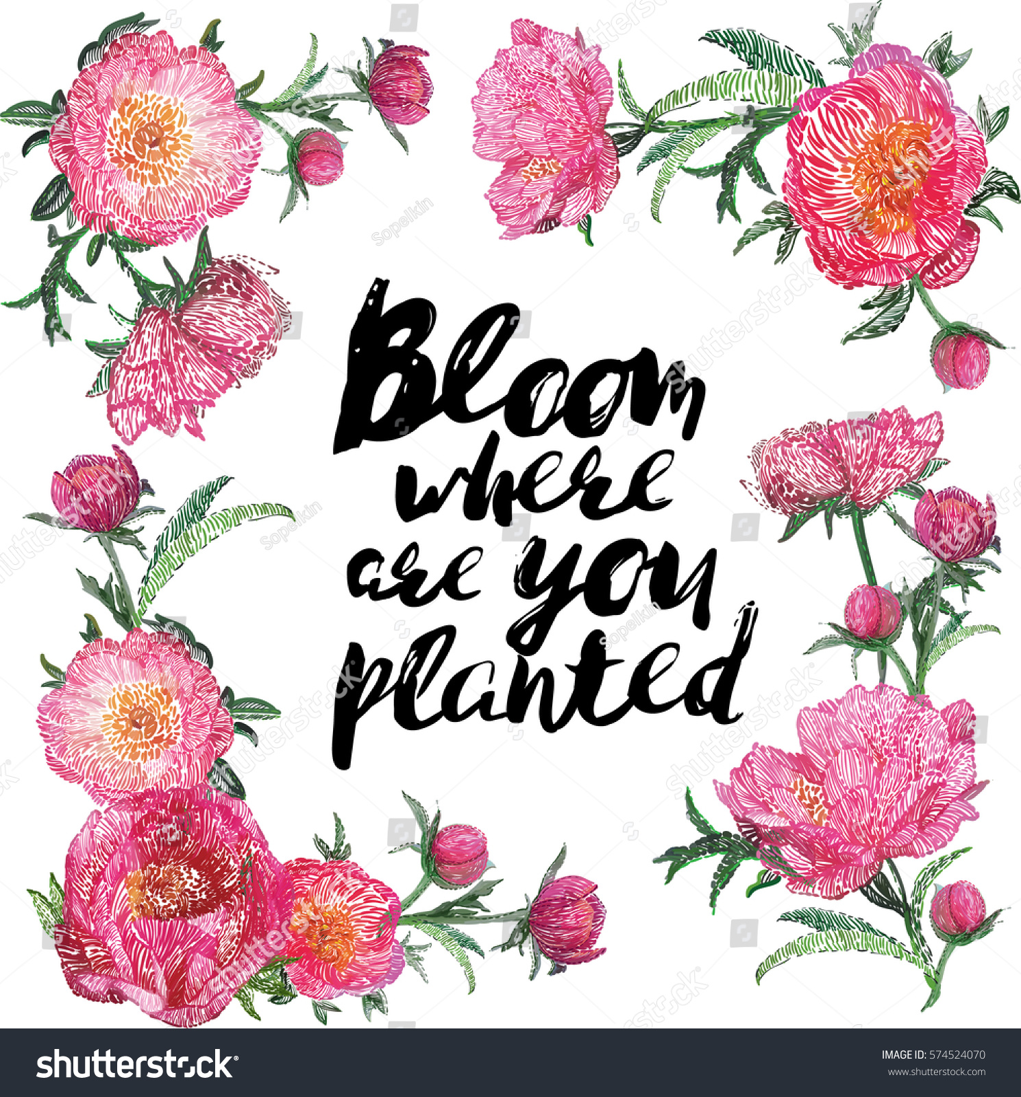Flowers Blossom, Beautiful Flower Bouquet, Bloom Where Ate You Planted Quote.  Vector Flower