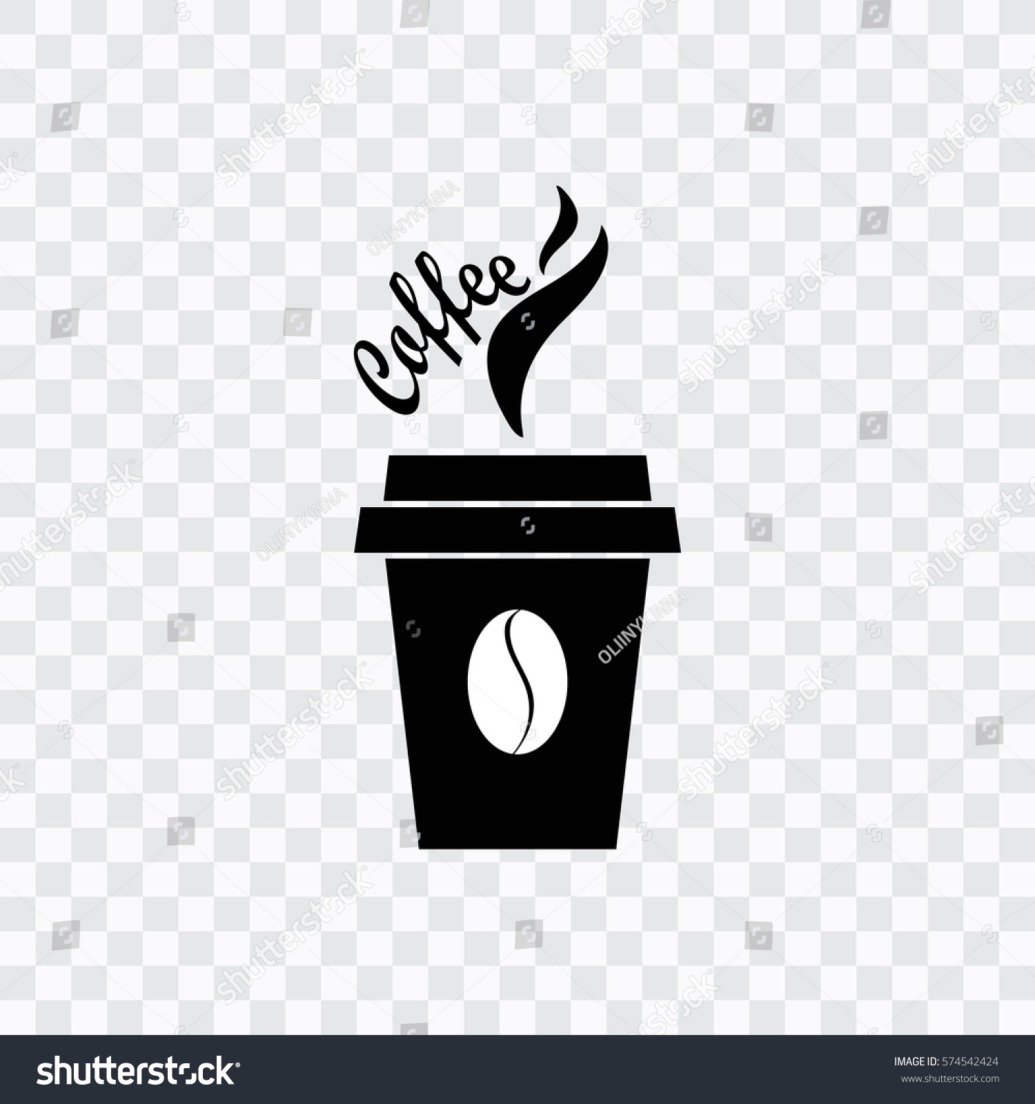 Coffee cup transparent - Coffee Cup Icon With Coffee Beans Transparent Background