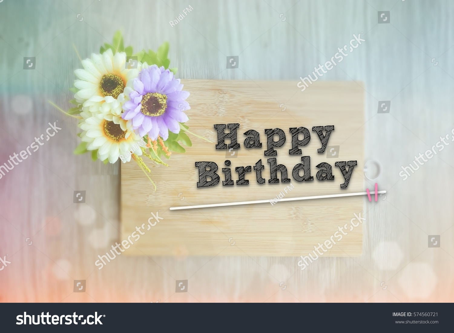 HAPPY BIRTHDAY Words On The Wooden Background Vintage Retro Or Rustic Style With Flowers 574560721