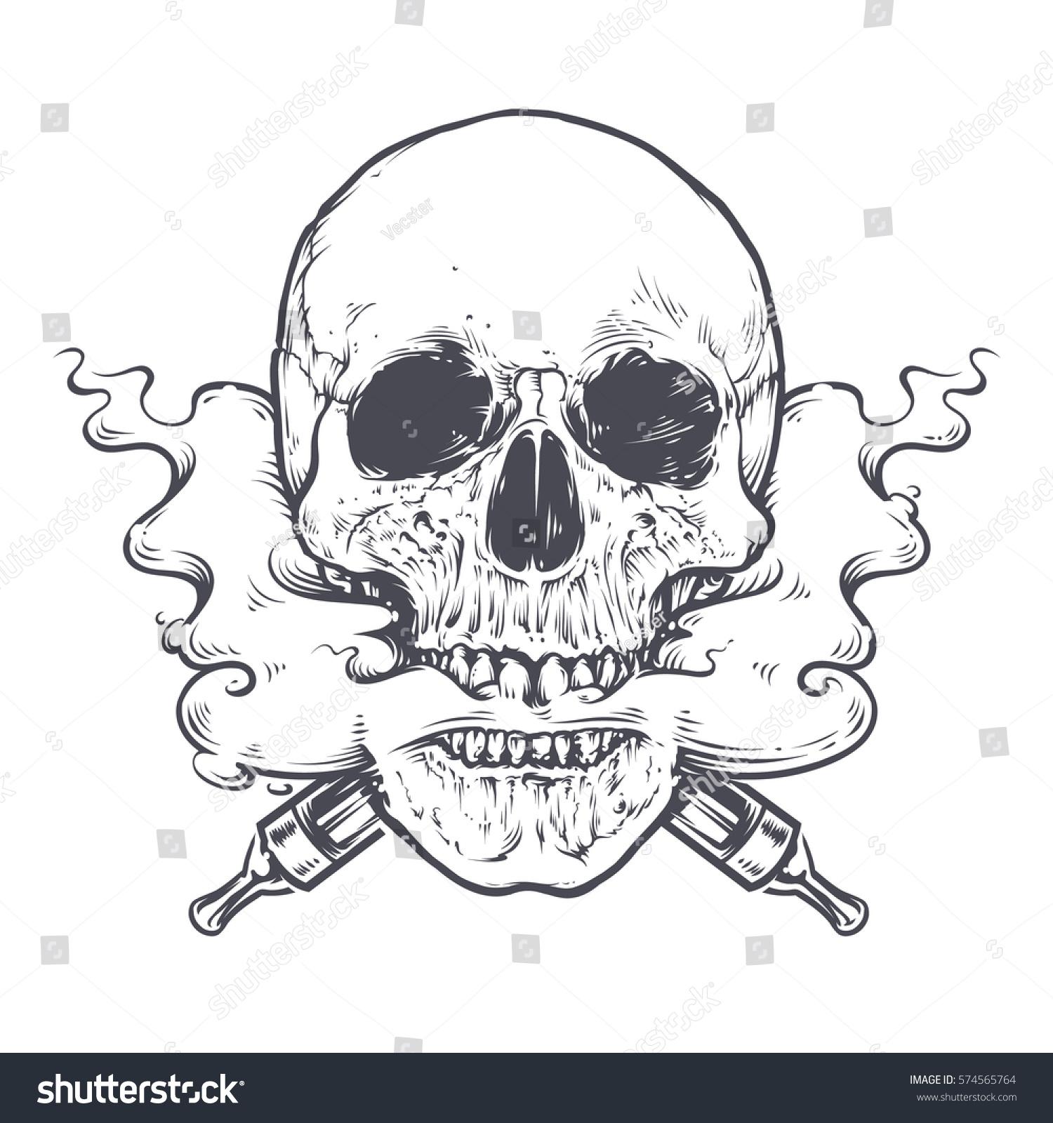Line Art Vector Illustrator : Vaping skull art vector illustration stock