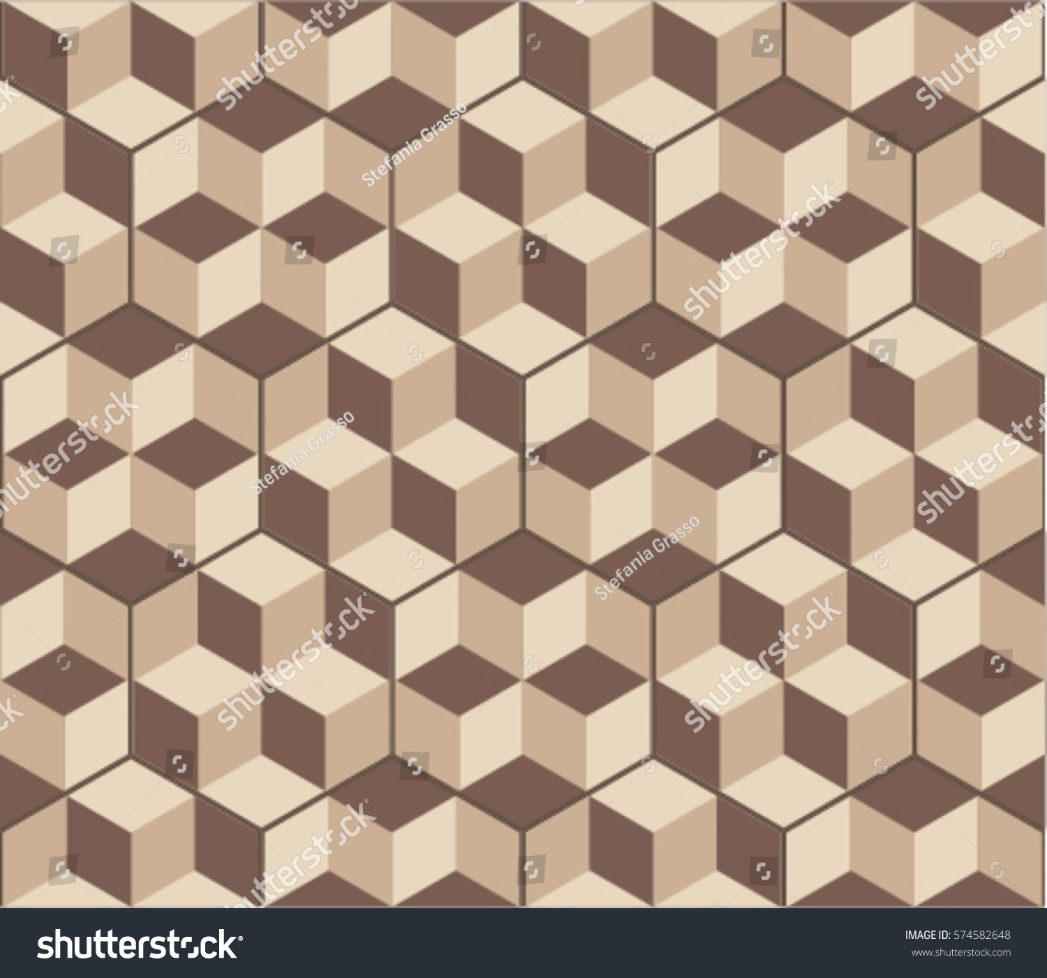 Hexagonal tiles with optical illusion decor floor and wall texture vintage style pattern for modern interiors seamless geometric volume pattern