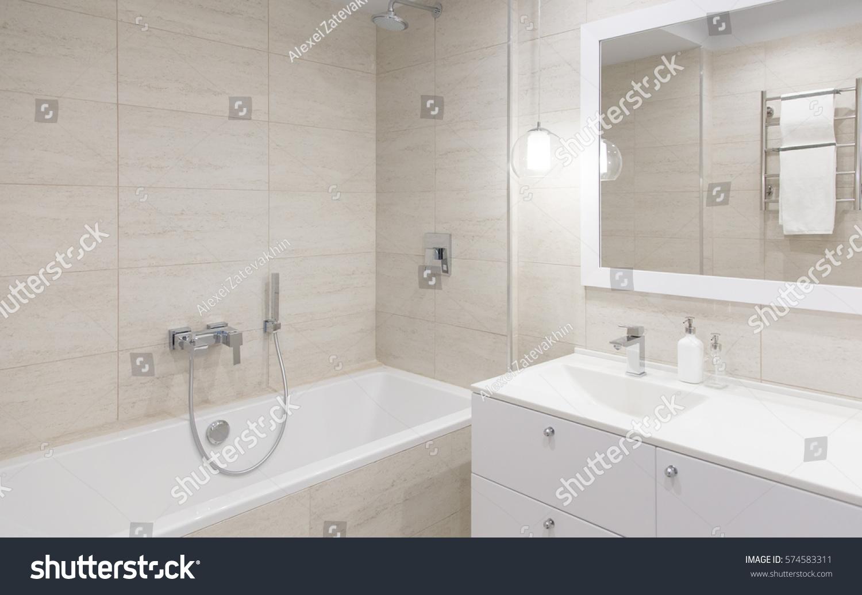Bathroom Interior Bathroom Mirror Stand Mirror Stock Photo 574583311    Shutterstock