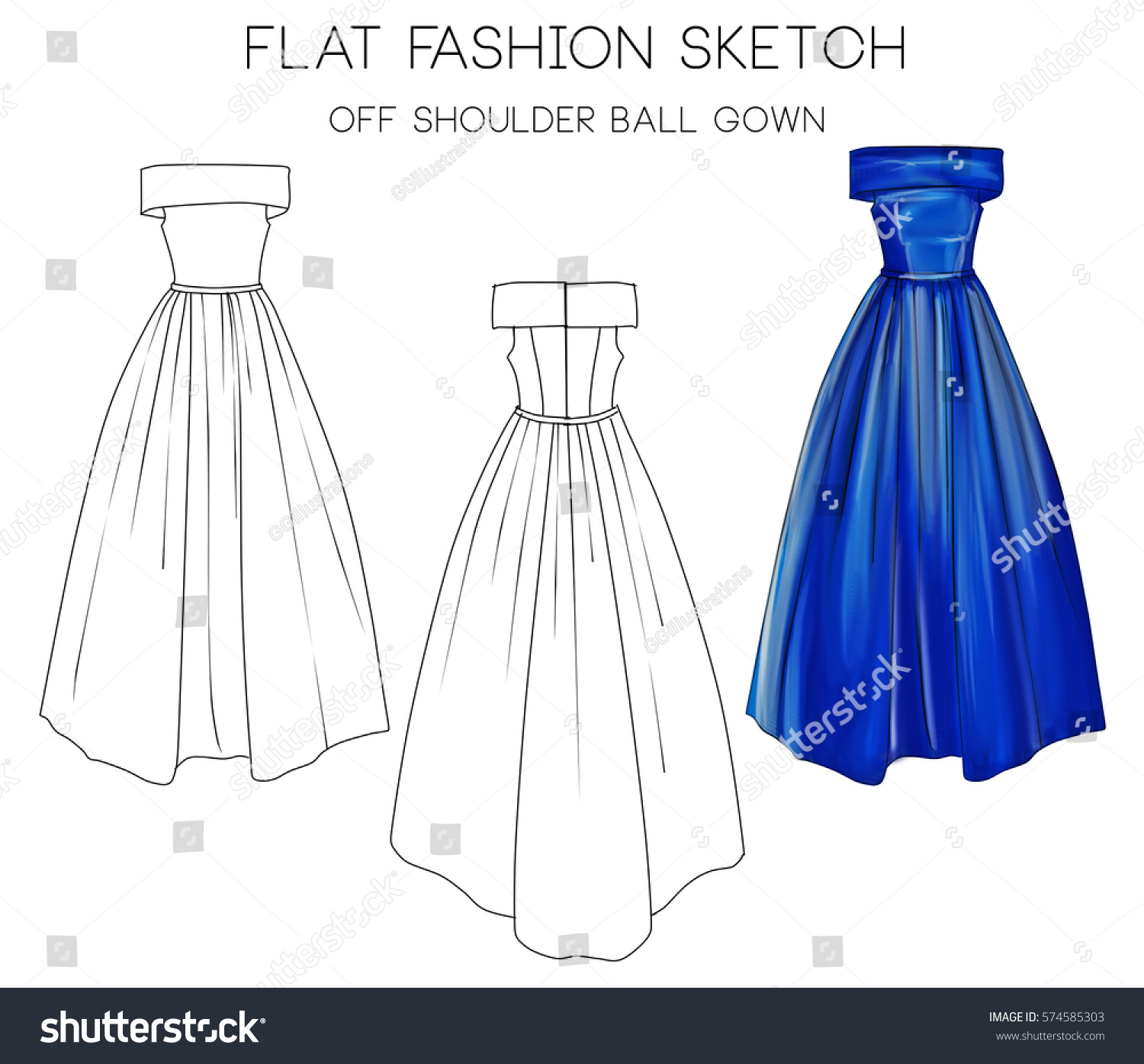 Flat Fashion Sketch Formal Ball Gown Stock Illustration 574585303 ...