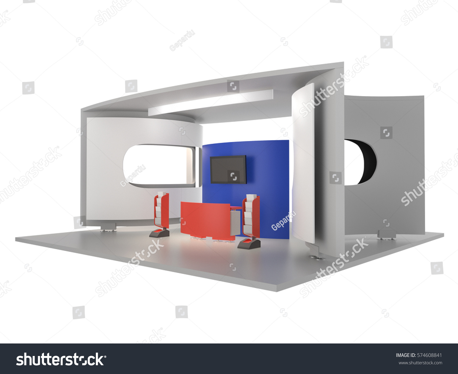 Exhibition Stall Mockup : Blue red white stand stall mockup stock illustration