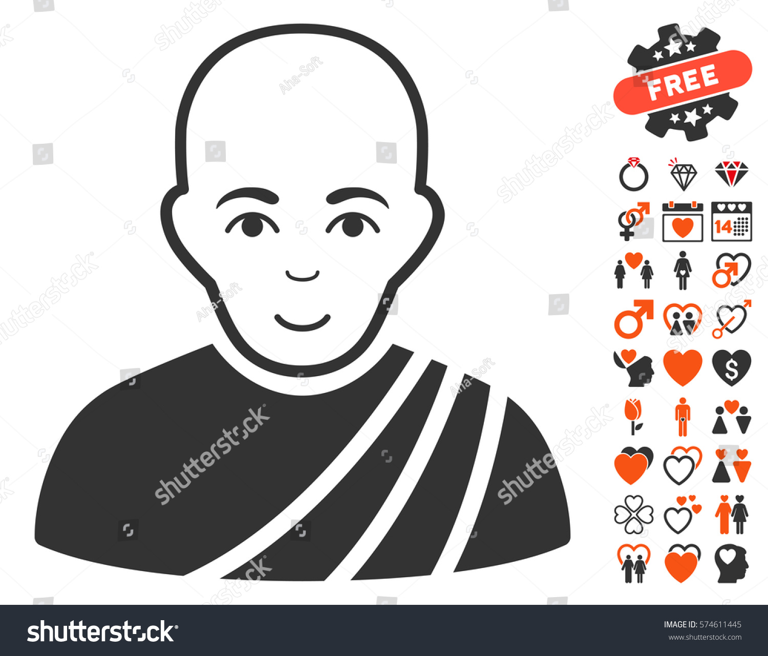 Buddhist monk icon bonus love pictures stock vector 574611445 buddhist monk icon with bonus love pictures vector illustration style is flat iconic symbols for buycottarizona Image collections