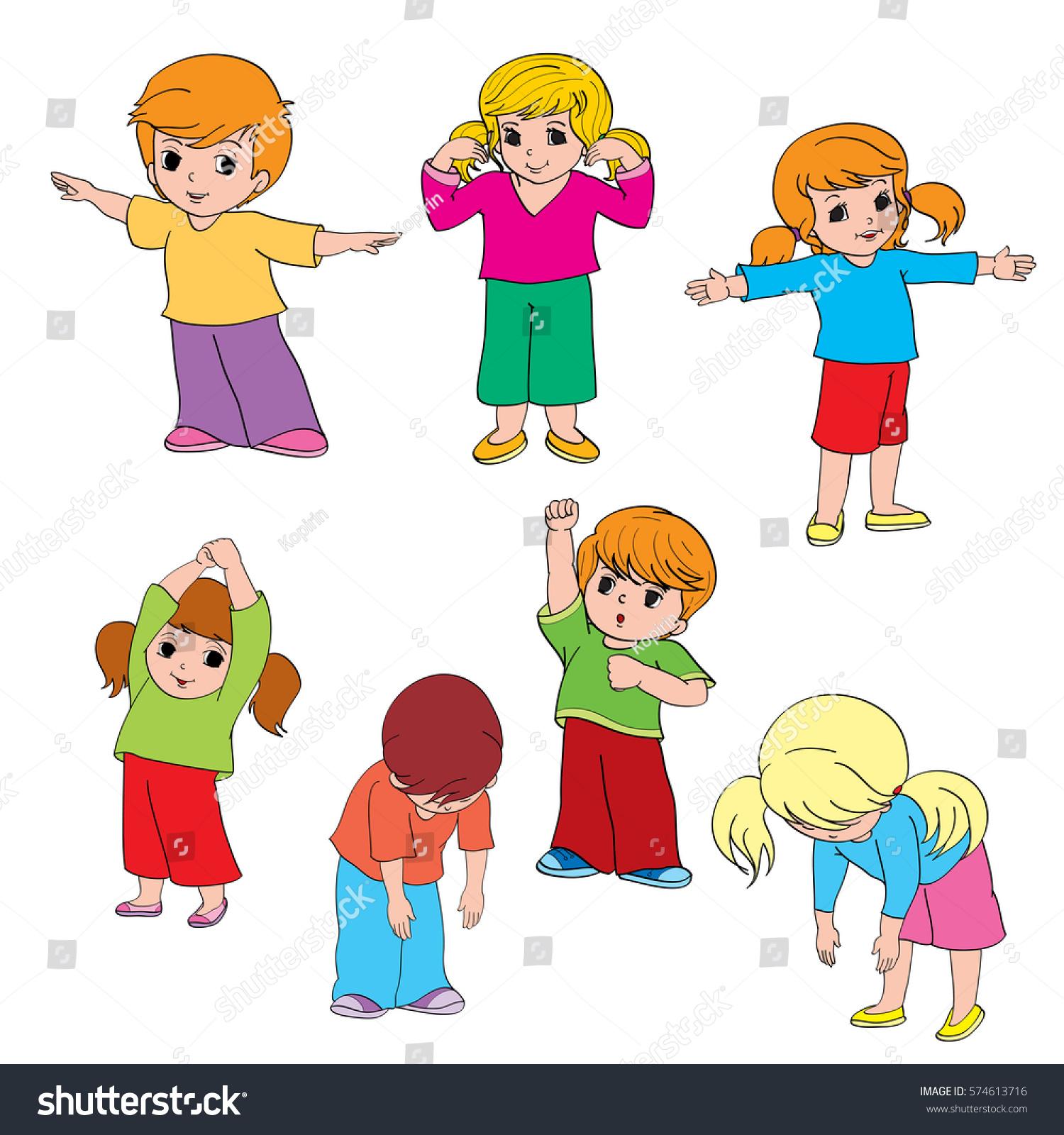 Children Doing Morning Exercises Stock Vector Royalty Free 574613716