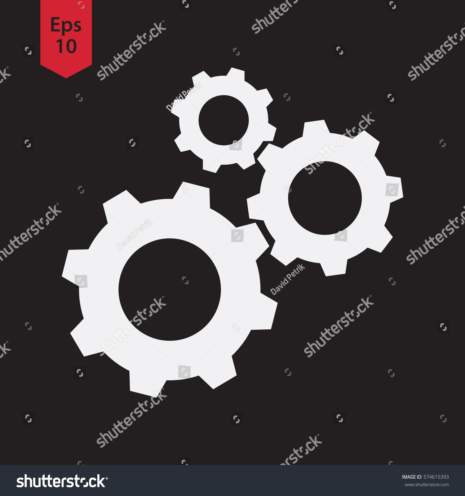 Settings Symbol Simple Flat Icon Gear Stock Vector Royalty Free