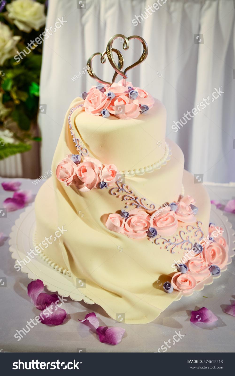 Wedding Cake Red Roses Wedding Table Stock Photo (Edit Now ...