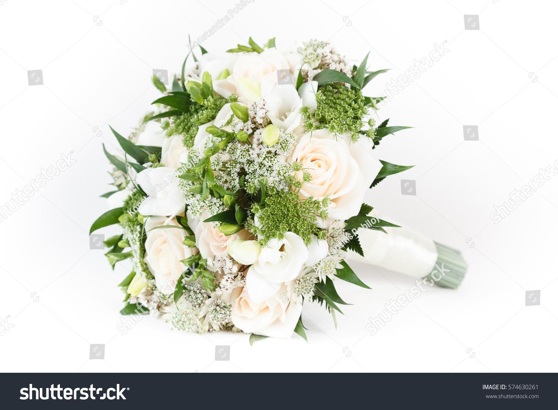 Ivory green wedding bouquet roses freesia stock photo edit now ivory and green wedding bouquet of roses and freesia flowers izmirmasajfo
