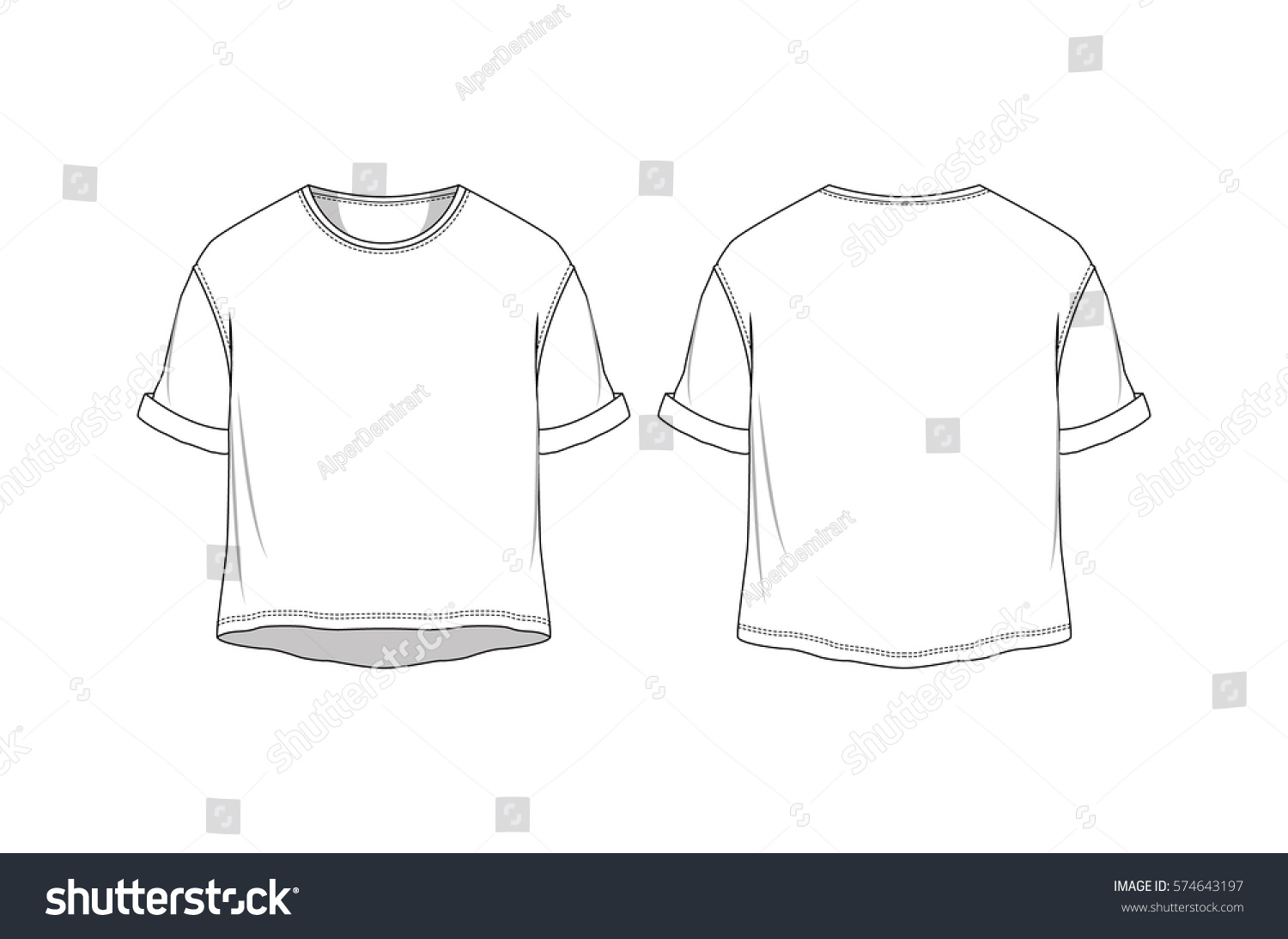 vector crop basic t shirt stock vector 574643197