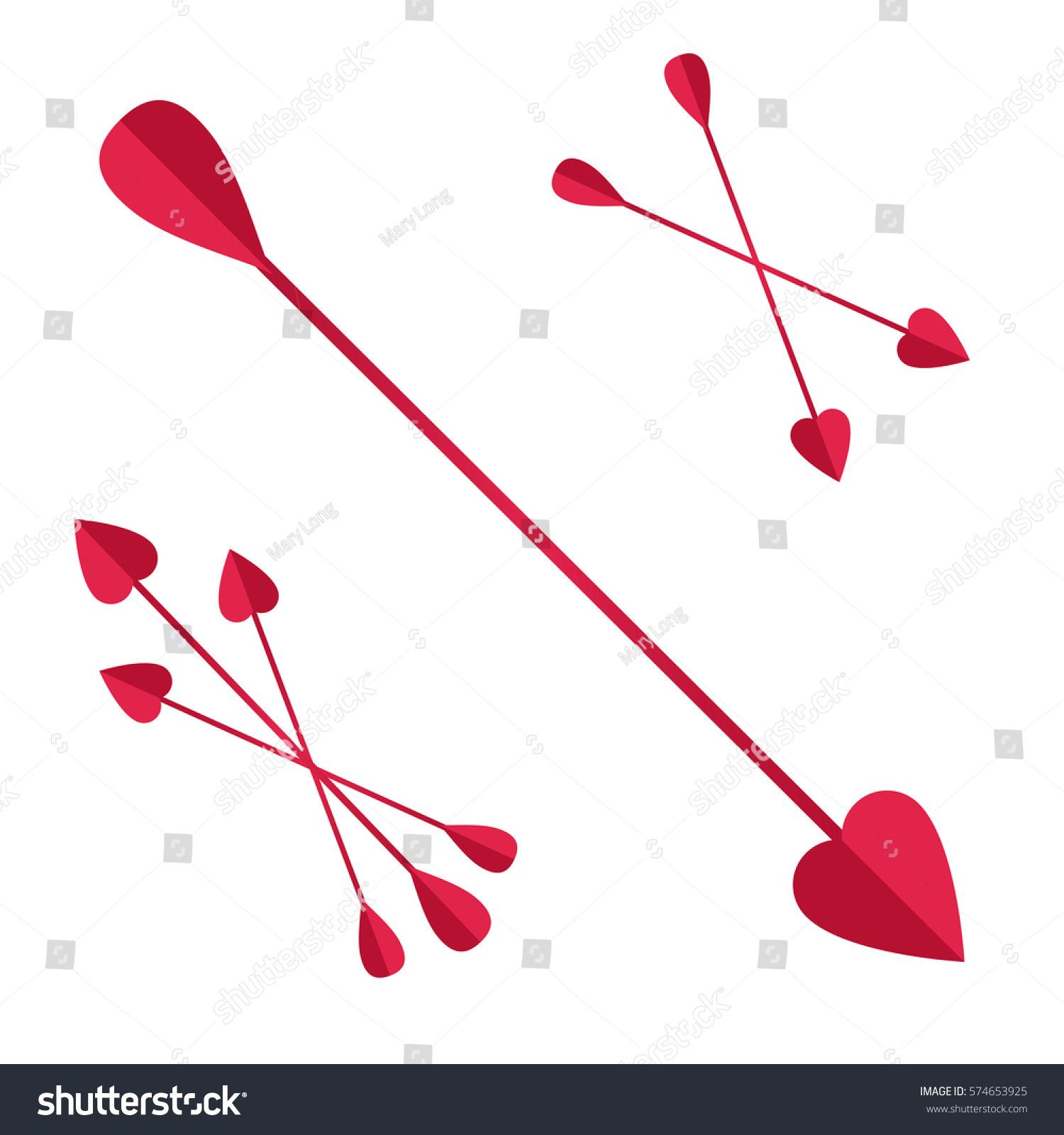 bunch cupid arrowsheart love festive attribute stock vector