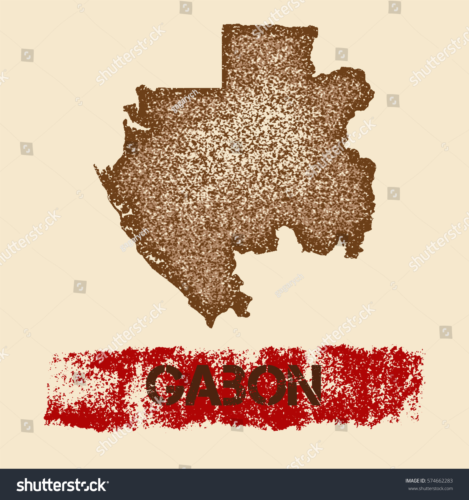 Gabon Distressed Map Grunge Patriotic Poster Stock Vector - Gabon blank map