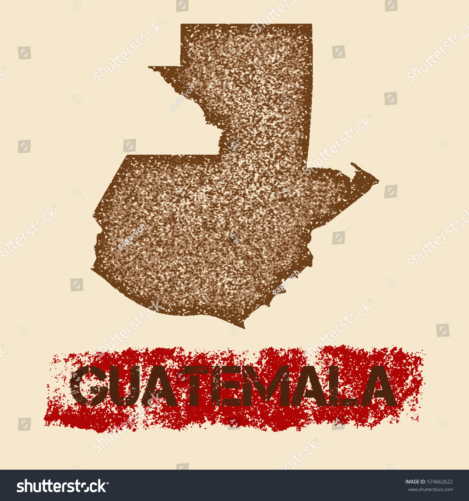 guatemala distressed map grunge patriotic poster stock vector