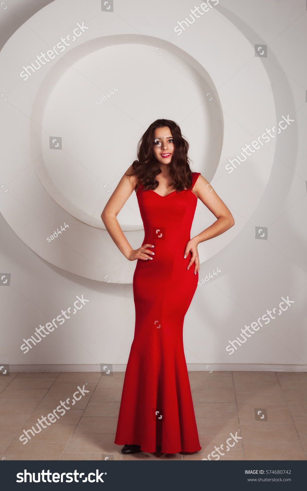 Beautiful Brunette Formal Red Dress Stock Photo 574680742 Shutterstock